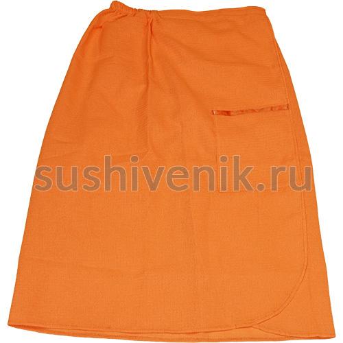 Парео для бани женское вафельное (оранжевое)