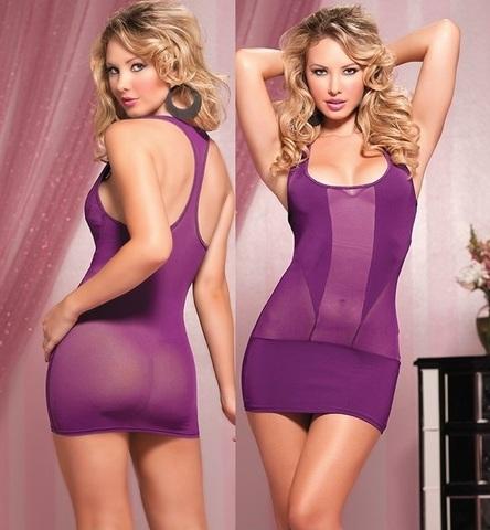 Эластичное платье-борцовка (фиолетовое)