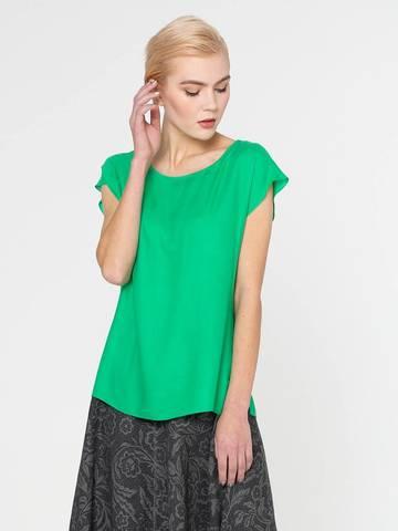 Фото зеленая блузка свободного силуэта с короткими рукавами - Блуза Г604-502 (1)