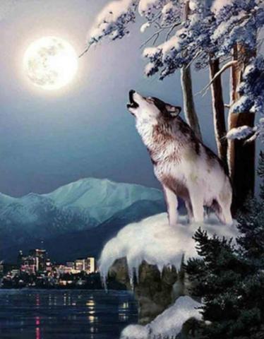 Алмазная Мозаика 30x40 Волк воет на луну