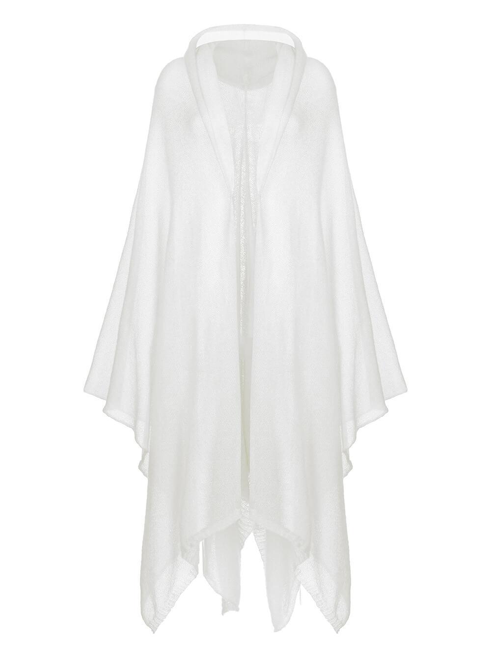 Женский шарф белого цвета из мохера и шерсти - фото 1