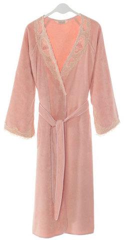 Махровый женский халат DESTAN тёмно-розовый