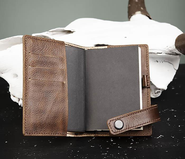 BC205-2 Фирменный кожаный блокнот в клетку (А6) фото 04