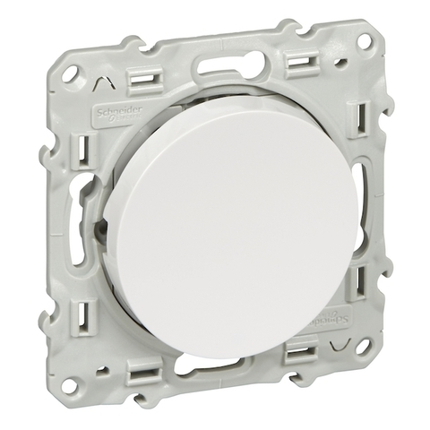 Выключатель/переключатель одноклавишный с подсветкой на 2 направления(проходной) 10 АХ, 250 В. Цвет Белый. Schneider Electric(Шнайдер электрик). Odace(Одес). S52R263
