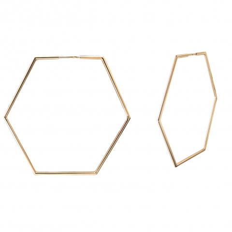01С0113214- Серьги-конго геометрия из желтого золота 585 пробы d-60mm