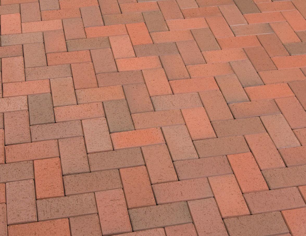 Feldhaus Klinker - P403KDF, Gala flamea, красный пестрый, обожженный c оттенками, 200x100x52 - Клинкерная тротуарная брусчатка