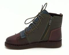 Зимние кожаные ботинки мультиколор