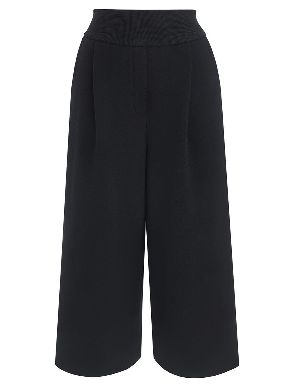 Женские свободные брюки черного цвета из шерсти - фото 1