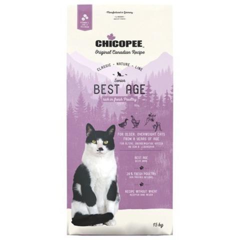 15 кг. Chicopee CNL Cat Senior Best Age сухой корм для пожилых кошек с птицей