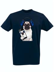 Футболка с принтом Собака (Dog) темно-синяя 003