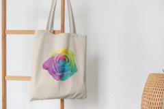 Сумка-шоппер с принтом Цветы (Розы) бежевая 003