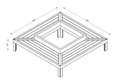 Скамья четырёхугольная СИТИ с подсветкой