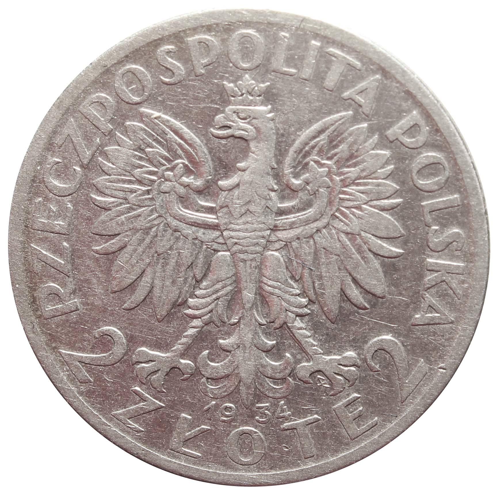 2 золотых. Ядвига. Польша. 1934 год. VF-XF