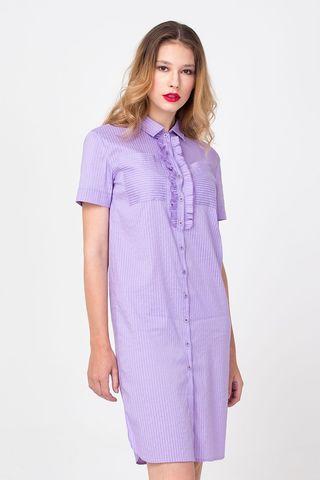 Фото сиреневое платье-рубашка прямого силуэта в мелкую полоску - Платье З366-303 (1)