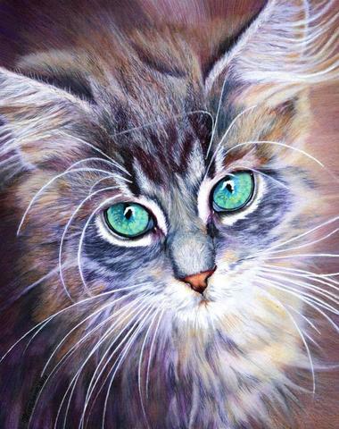 Алмазная Мозаика 30x40 Голубогразый кот