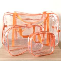 Прозрачная сумка в роддом с 2 косметичками, оранжевая, вид 4