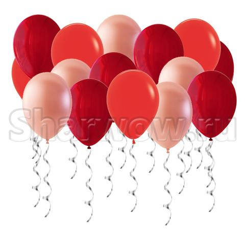 Воздушные шары с гелием под потолок Красные, Розовое золото и Бордо