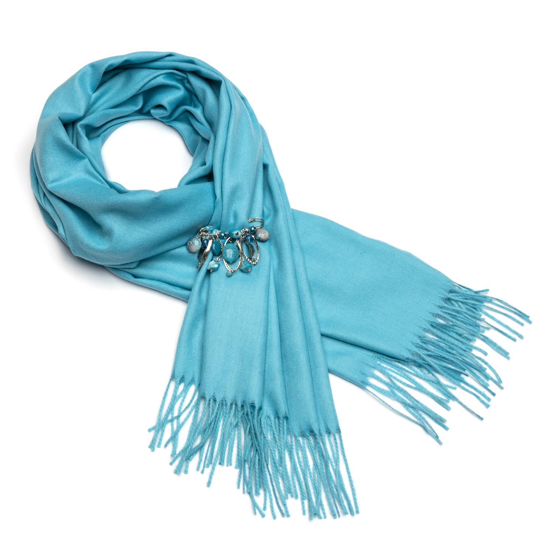 Голубой палантин из кашемира