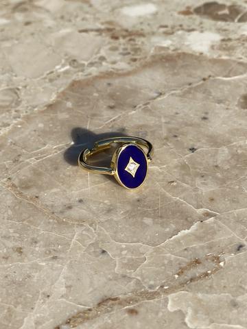 Кольцо Аврора из позолоченного серебра с синей эмалью