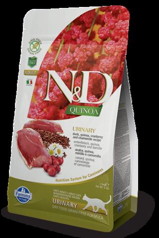 Сухой беззерновой корм Farmina N&D GF Cat Quinoa Urinary Duck