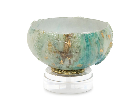 Cream and Turquoise Bowl