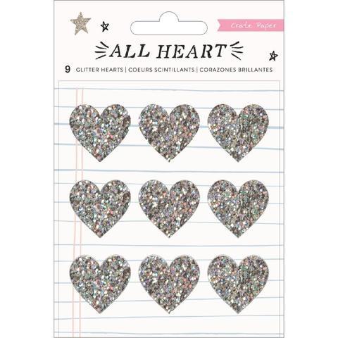 Украшения из глиттера -All Heart от Crate Paper -9шт