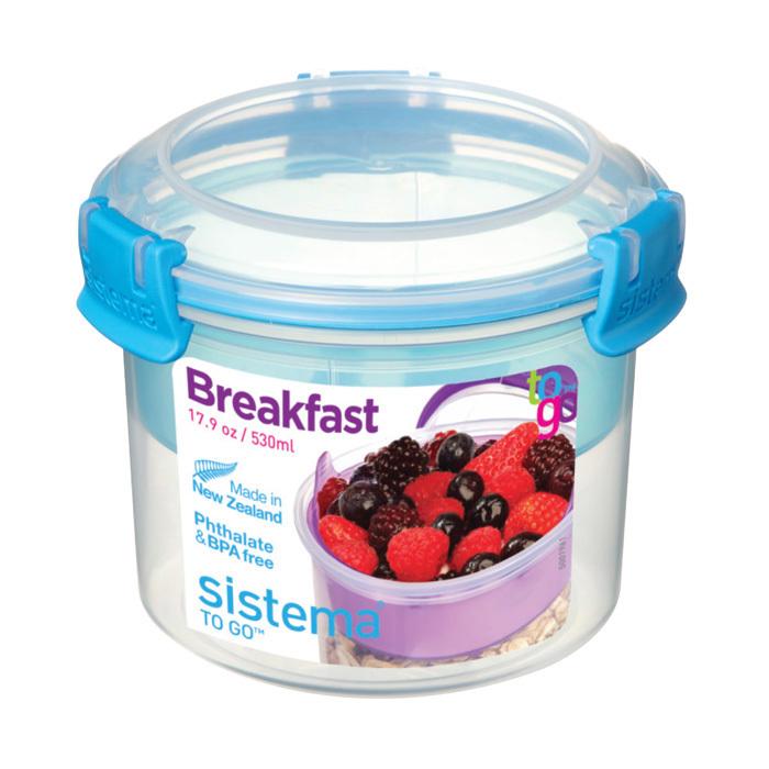 """Ланч-бокс с ложкой Sistema """"Breakfast TO GO"""", двойной, 530 мл, цвет Голубой"""