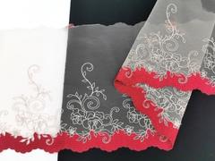 Вышивка на сетке, ЛЕВАЯ, 19 см, бежевая с блестящей нитью и темно-красным краем , (Артикул: VS-1012), м