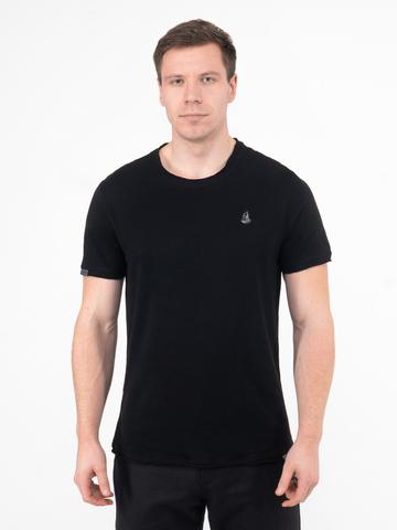 Мужская футболка «Великоросс» черного цвета круглый ворот