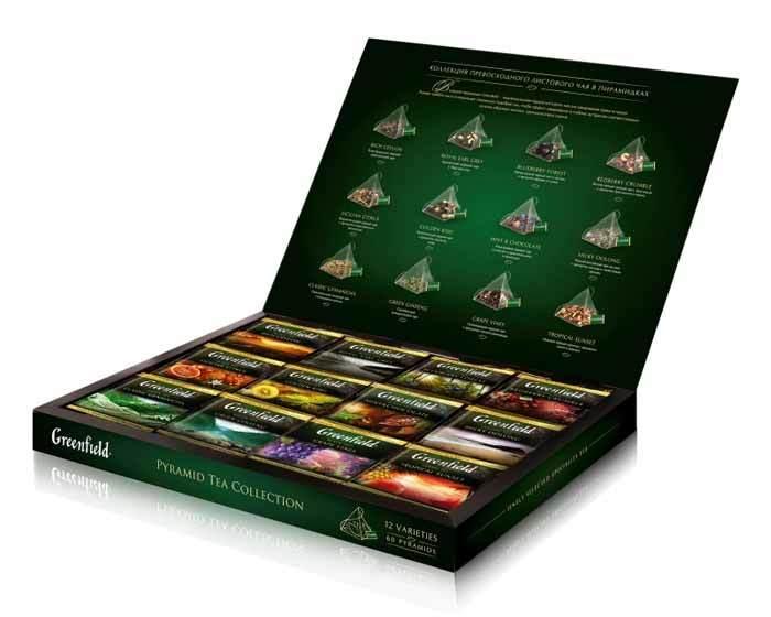 Набор чая из 12 видов в пирамидках Greenfield, 60 пак/уп