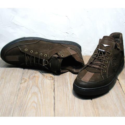 Осенние кроссовки туфли мужские кожаные.  Темно коричневые кроссовки без шнурков на резинке Luciano Bellini Brown