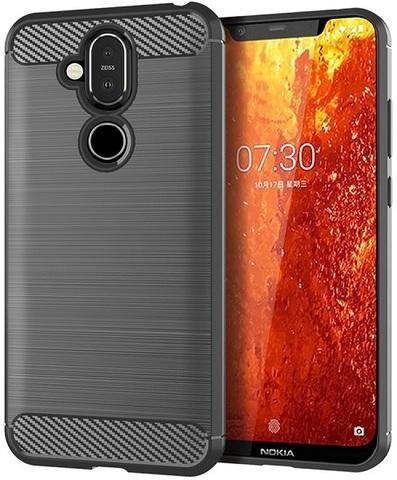 Чехол на Nokia 8.1 (X7) цвет Gray (серый), серия Carbon от Caseport