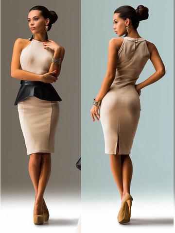 Платье-миди со съемной баской, цвет бежевый