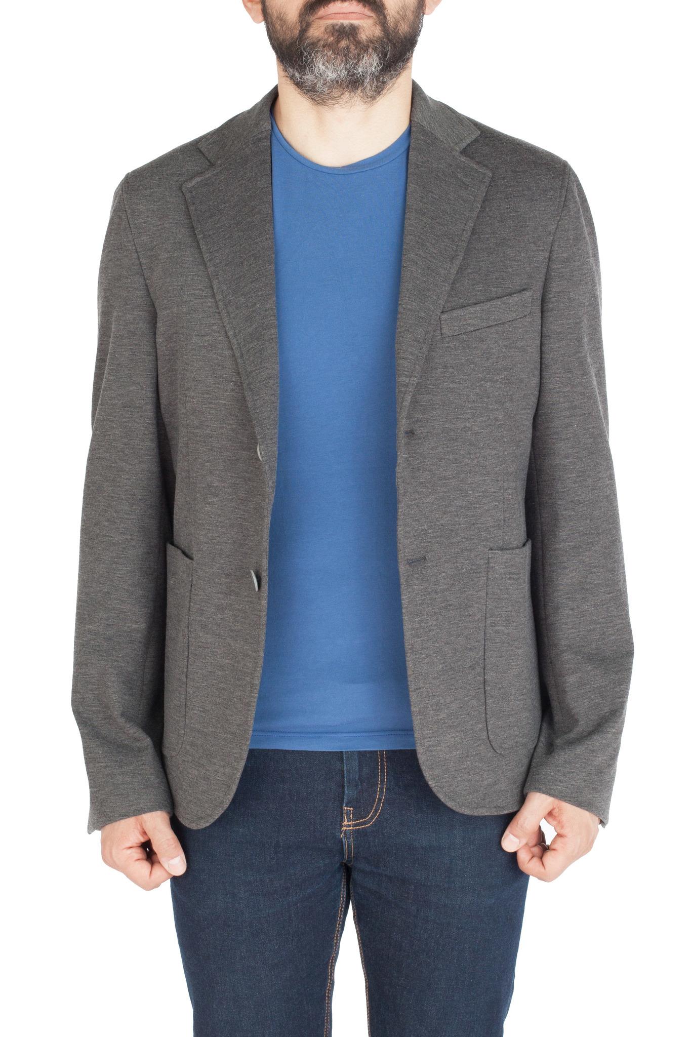 Серый трикотажный пиджак из вискозы