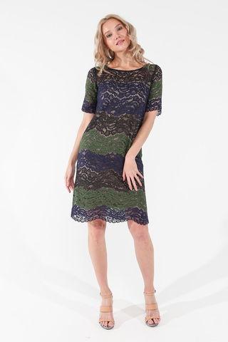 Фото полуприлегающее кружевное платье с цветочным принтом и коротким рукавом - Платье З453а-125 (1)