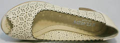 Туфли на среднем толстом каблуке летние Sturdy Shoes 87-43 24 Lighte Beige.