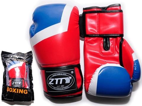 Перчатки боксёрские 8 oz: ZTQ-201-К Цвет - красный с синими и белыми вставками.