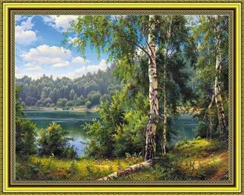 Алмазная Мозаика 40x50 Прогулка среди берез (арт. WXSA2594 )