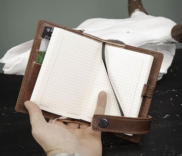 BC205-2 Фирменный кожаный блокнот в клетку (А6) фото 09