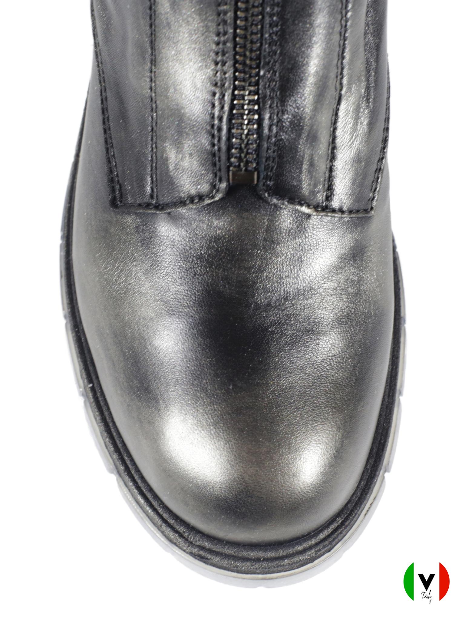 Зимние ботинки Fru.it в стиле гранж 5827, артикул 5827, сезон зима, цвет металлизированный антрацит, материал кожа, цена 19 500 руб., veroitaly.ru