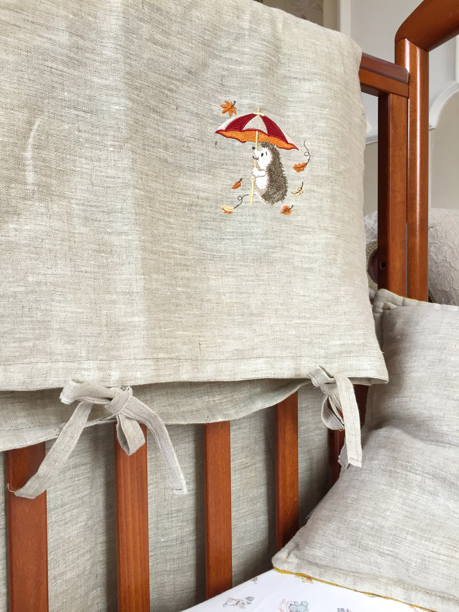 Льняной пододеяльник на завязках или деревянных пуговицах детский