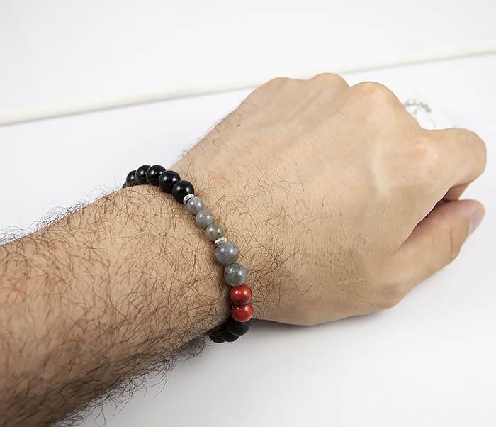 BS817 Необычный мужской браслет из обсидиана и лабрадора фото 07