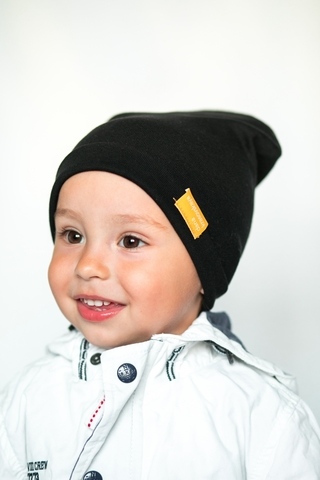 Детская шапка хлопковая гладкая черная