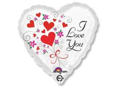 Фольгированный шар сердце I LOVE YOU белое