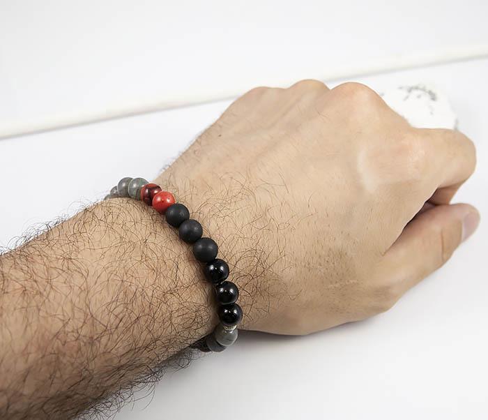 BS817 Необычный мужской браслет из обсидиана и лабрадора фото 08