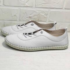 Женские кроссовки мокасины кожаные Rozen 115 All White.