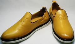 Классические туфли слиперы мужские King West 053-1022 Yellow-White.