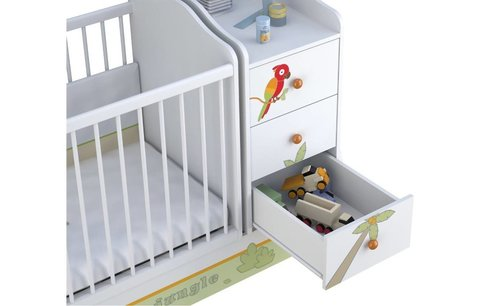 Кроватка детская Polini kids Basic Джунгли с комодом, белый-оранжевый