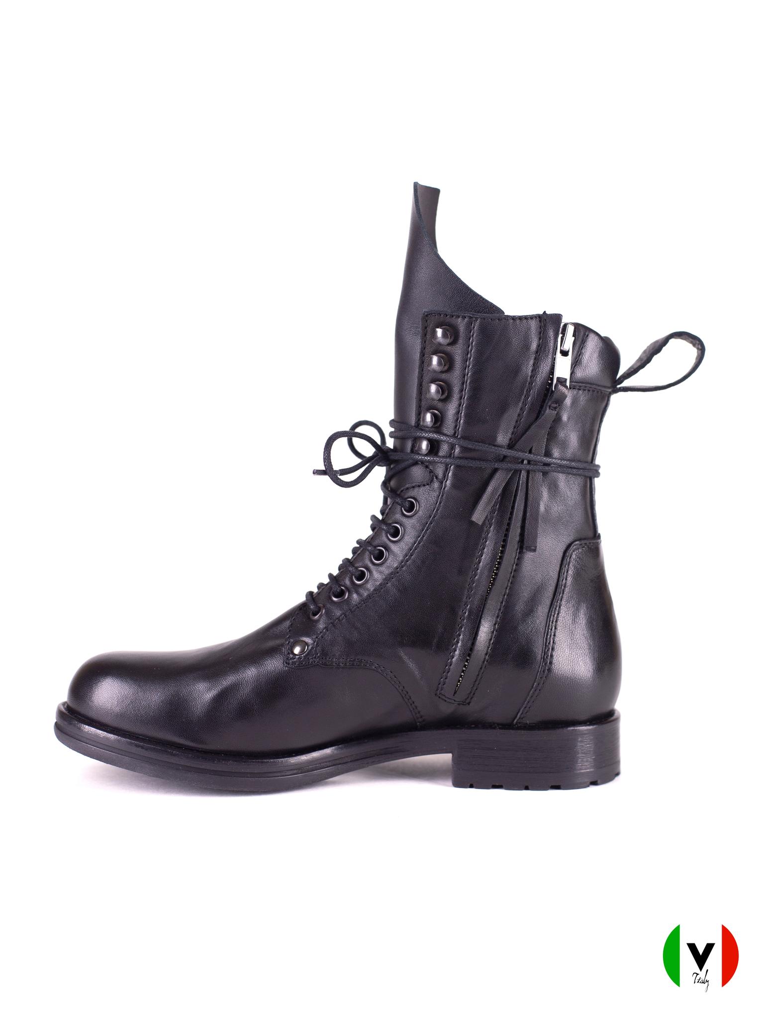 Высокие осенние ботинки Fru.it в стиле милитари, черные, кожаные, артикул 6373, цена 19500 руб.