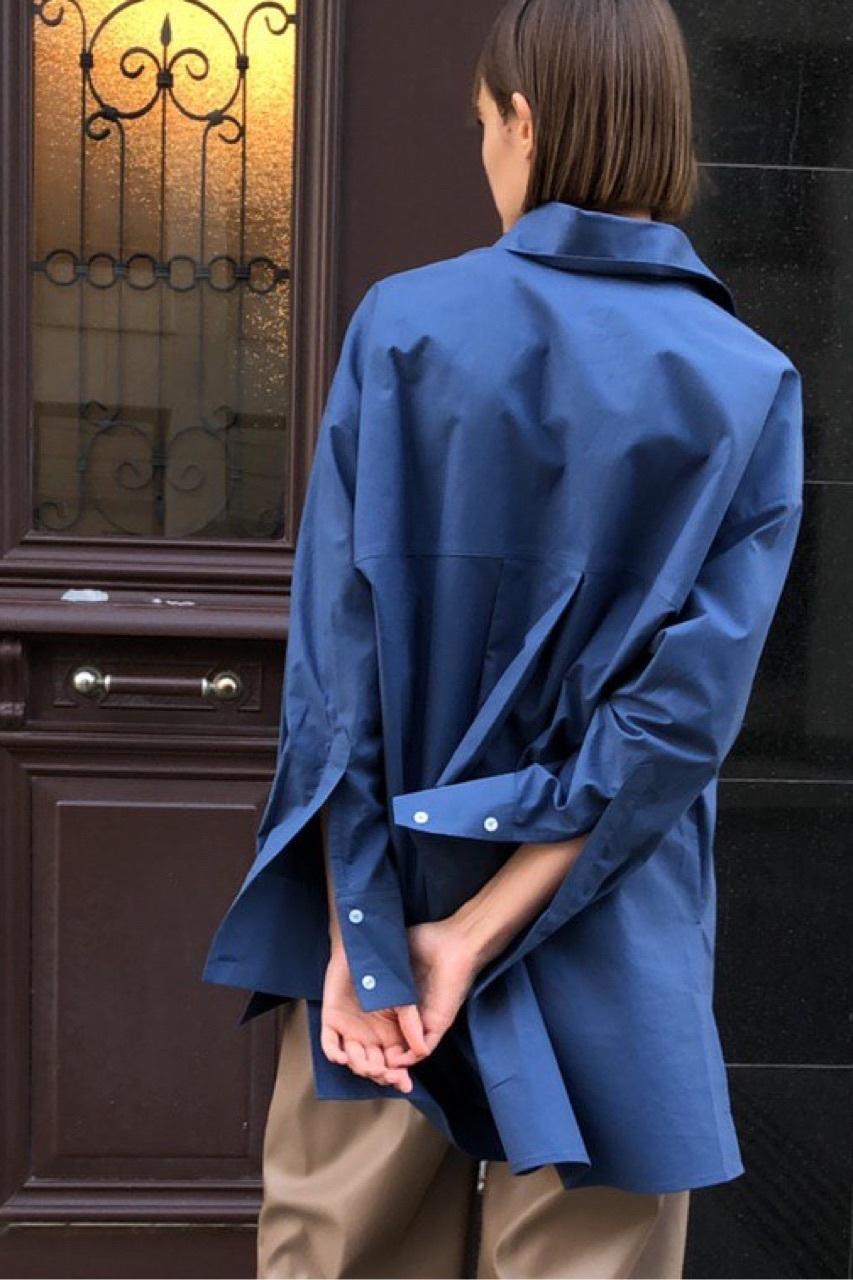 Рубашка оверсайз в мужском стиле, темно-лазурный